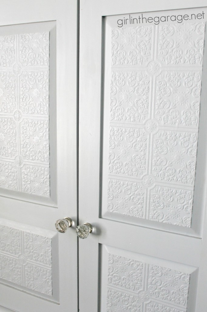 Drab-to-Fab Armoire Makeover: New paint, textured wallpaper, and a fabulous pop of color inside! I girlinthegarage.net