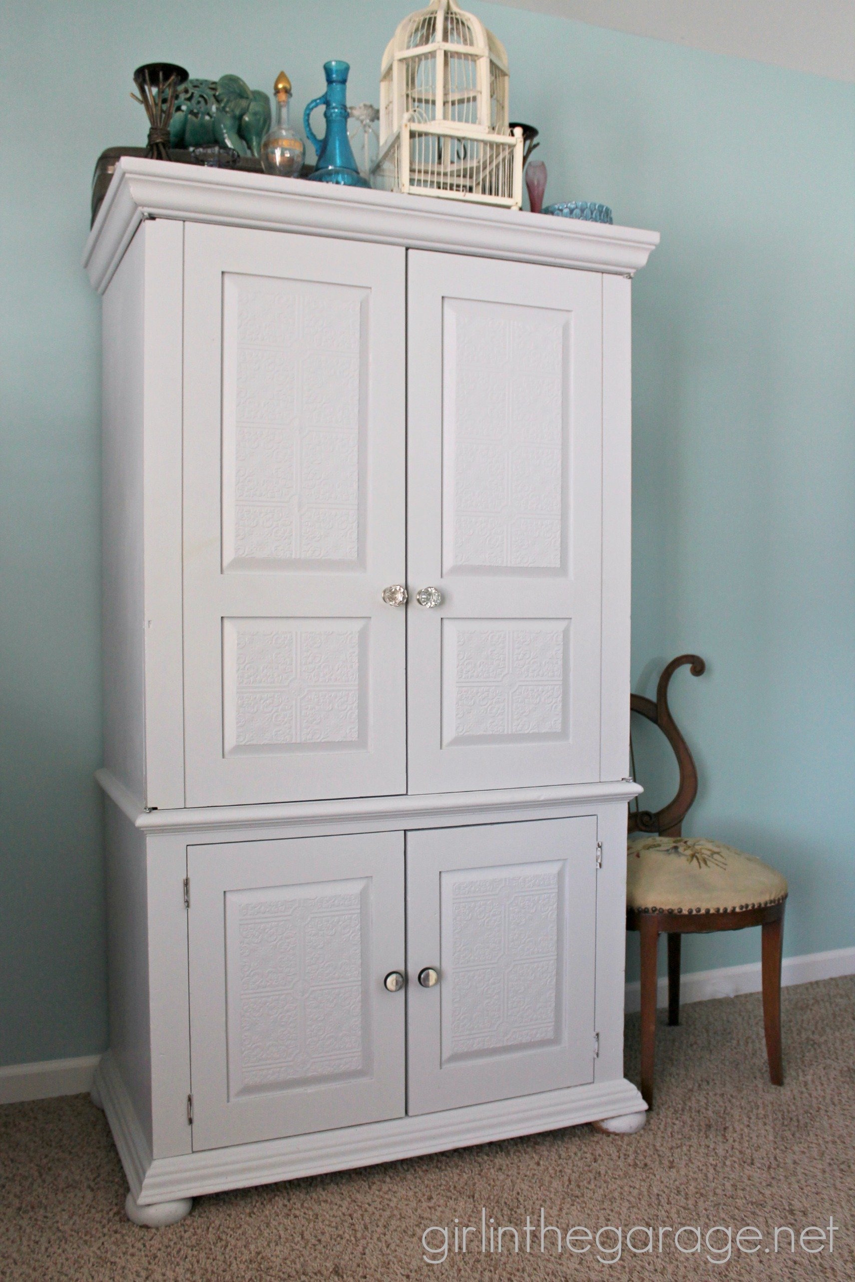 Wallpapered Armoire Makeover - Girl in the Garage