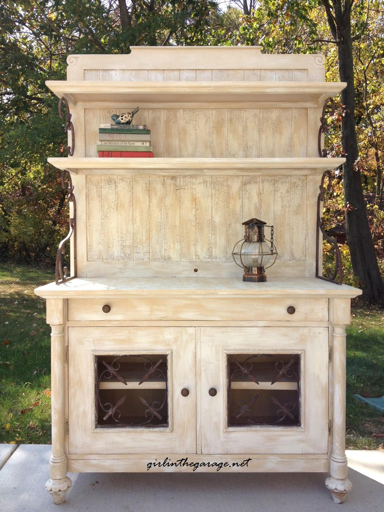 Farmhouse Hutch Makeover (from the curb!) by Girl in the Garage