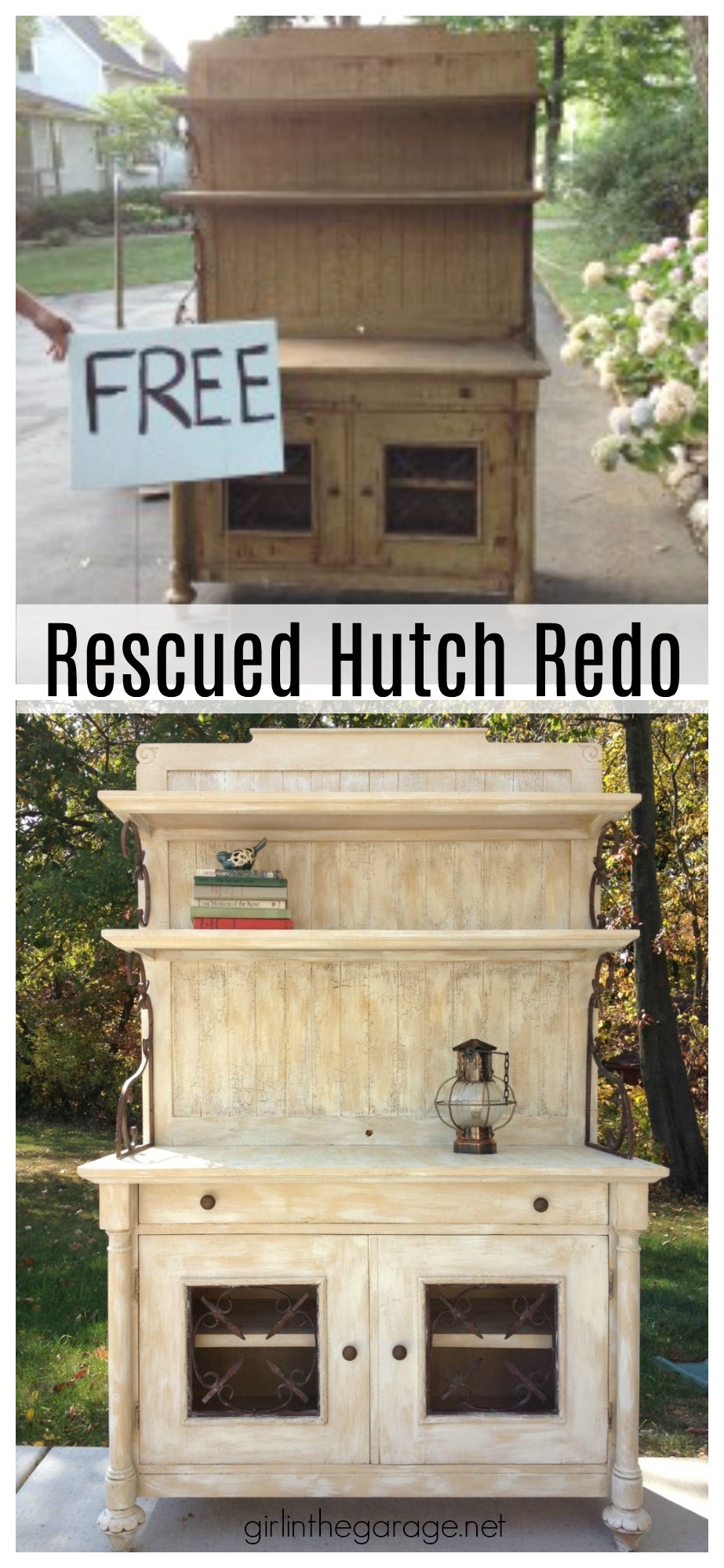 Roadside hutch makeover, rescued and restored - DIY furniture makeover tips and tricks by Girl in the Garage
