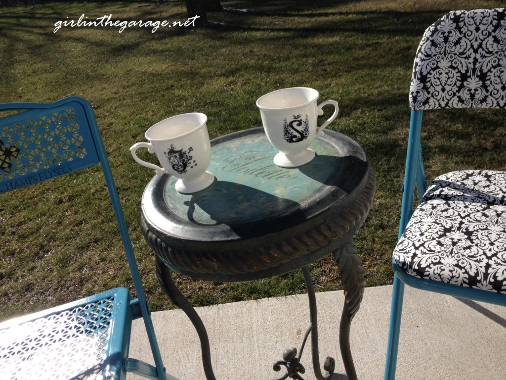 Reupholstered cafe chairs from girlinthegarage.net