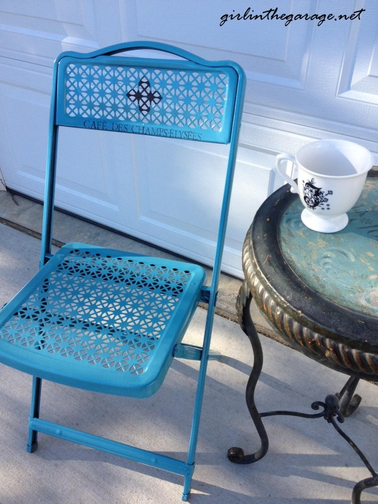 Refinished folding chair from girlinthegarage.net