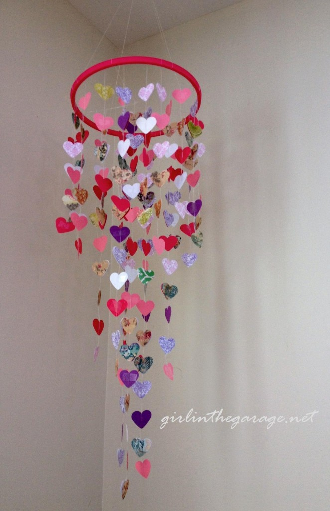 DIY Hanging Hearts Mobile by Girl in the Garage
