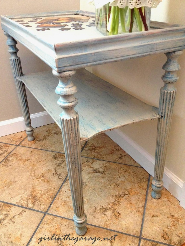 Distressed side table by Girl in the Garage