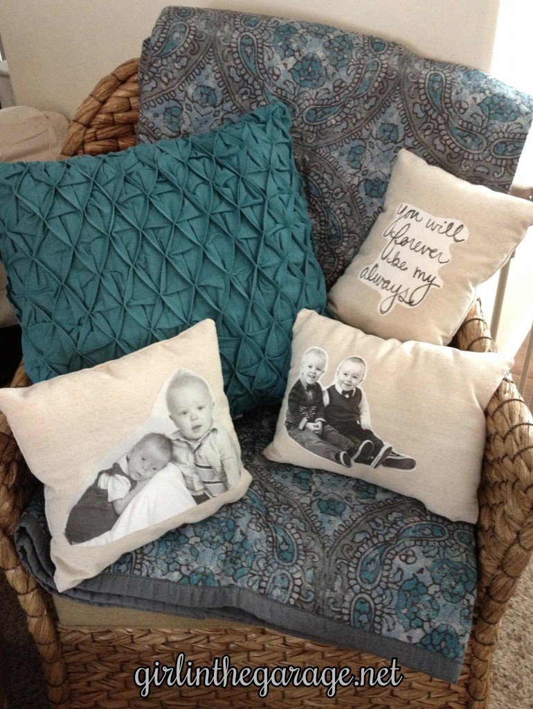Finished DIY pillows by Girl in the Garage
