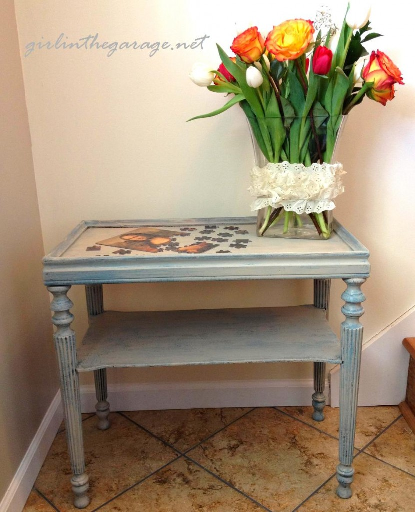 Final painted table with flowers by Girl in the Garage
