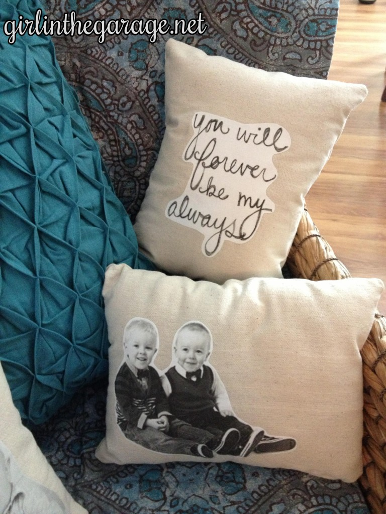 DIY quote pillow and boys' photo pillow. By Girl in the Garage