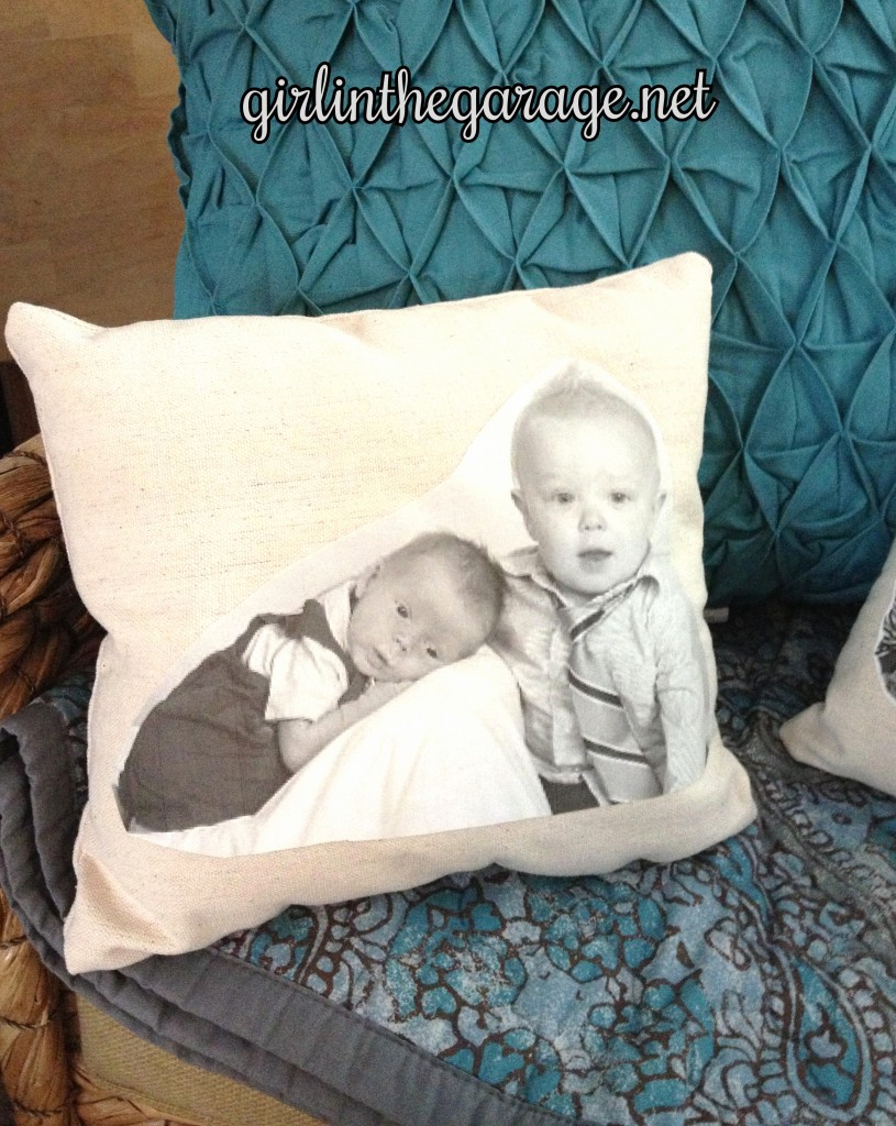 Boys photo image on DIY pillow. By Girl in the Garage