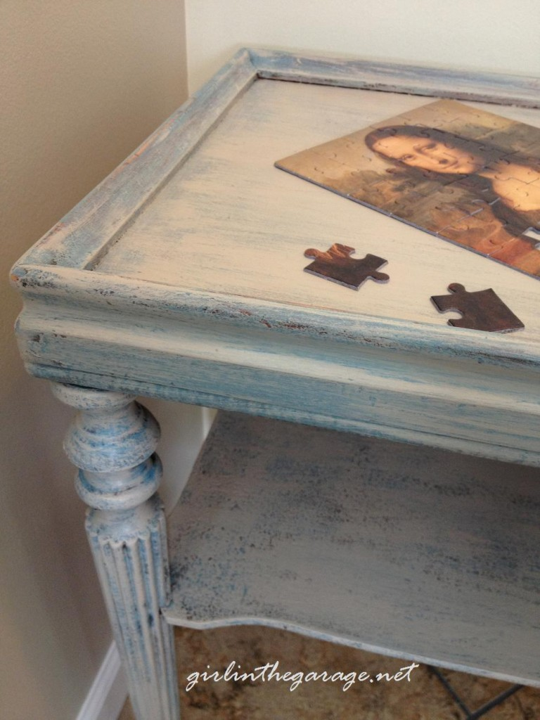 Painted table corner w/puzzle by Girl in the Garage