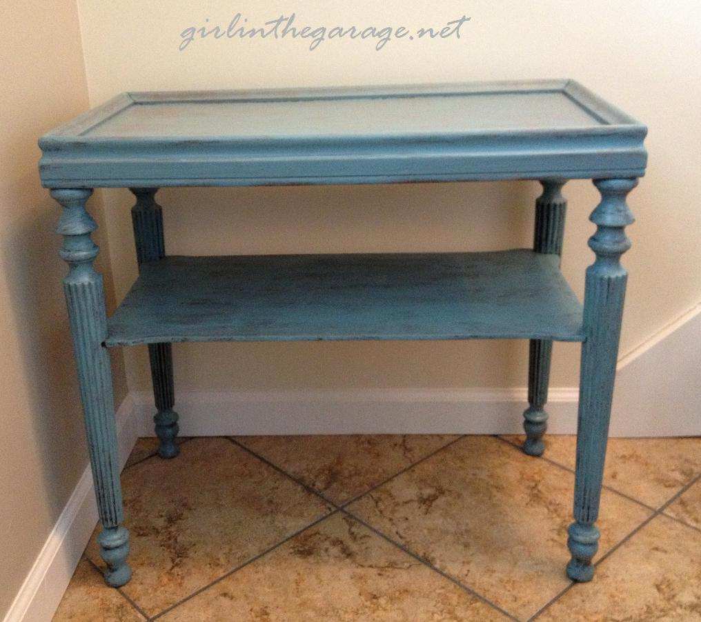 Blue painted table by Girl in the Garage