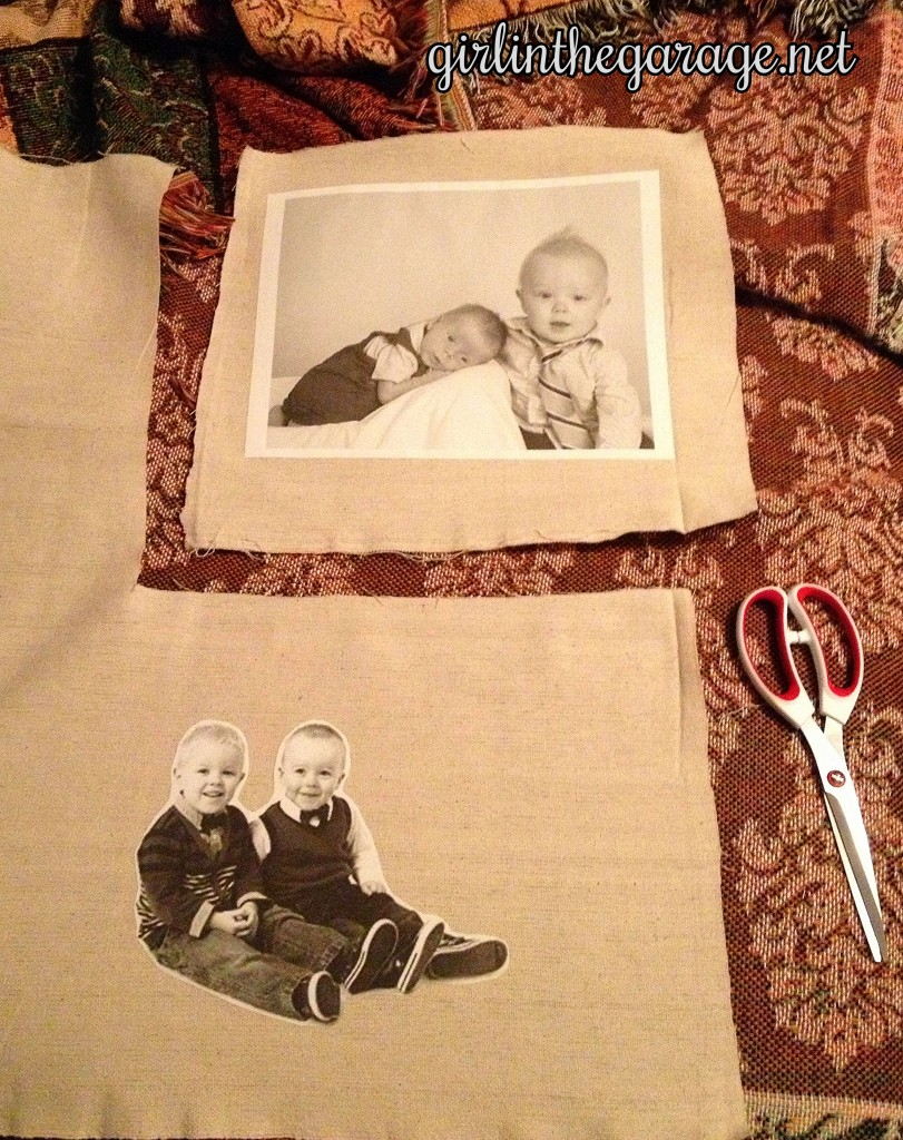 Images being cut from drop cloth. By Girl in the Garage