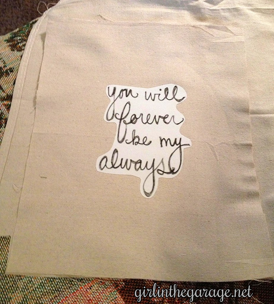 Quote pillow cut from drop cloth. By Girl in the Garage