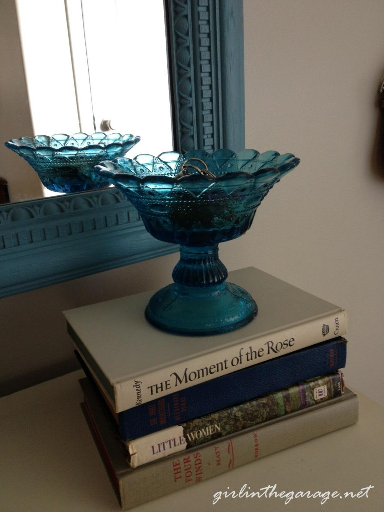 Vintage books and glass bowl - Girl in the Garage