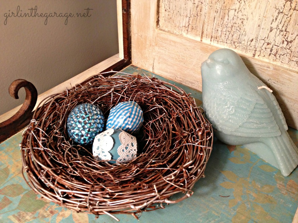 Nest with bird and eggs. By Girl in the Garage