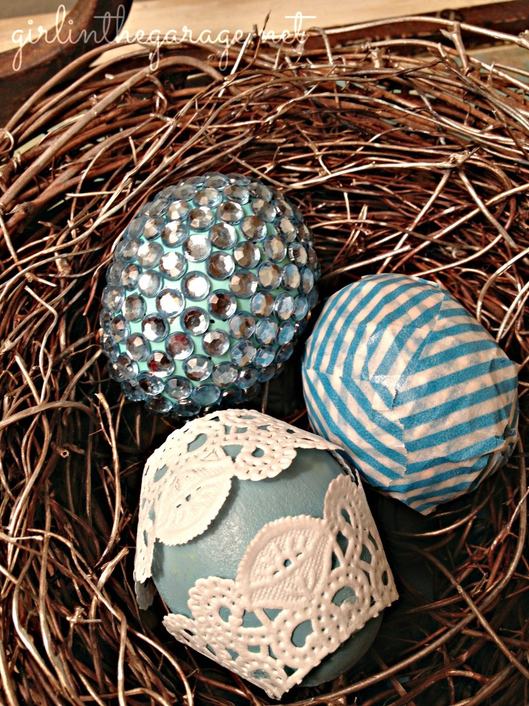 Close-up of DIY egg spring decor. By Girl in the Garage