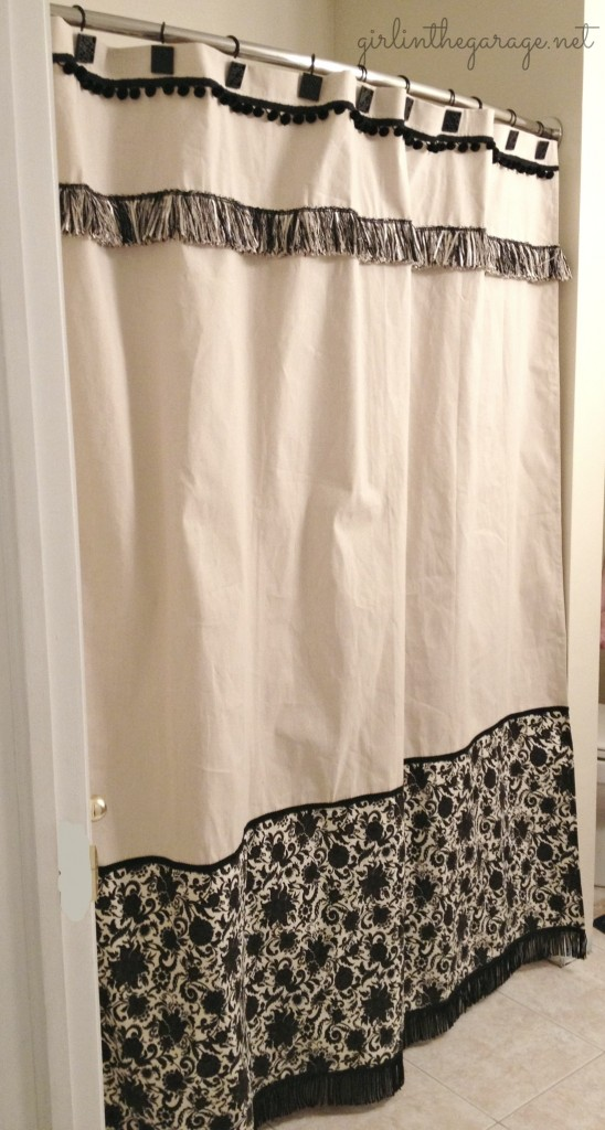 Finished DIY custom shower curtain by Girl in the Garage