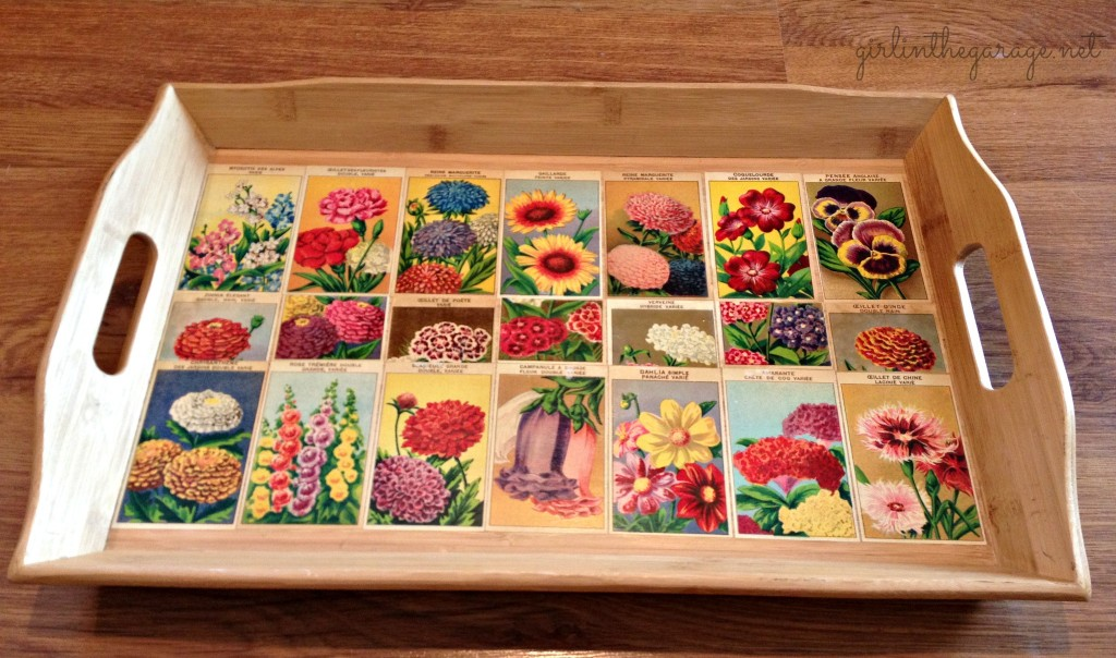 Decoupaged French flower seed labels on bamboo tray. Girl in the Garage