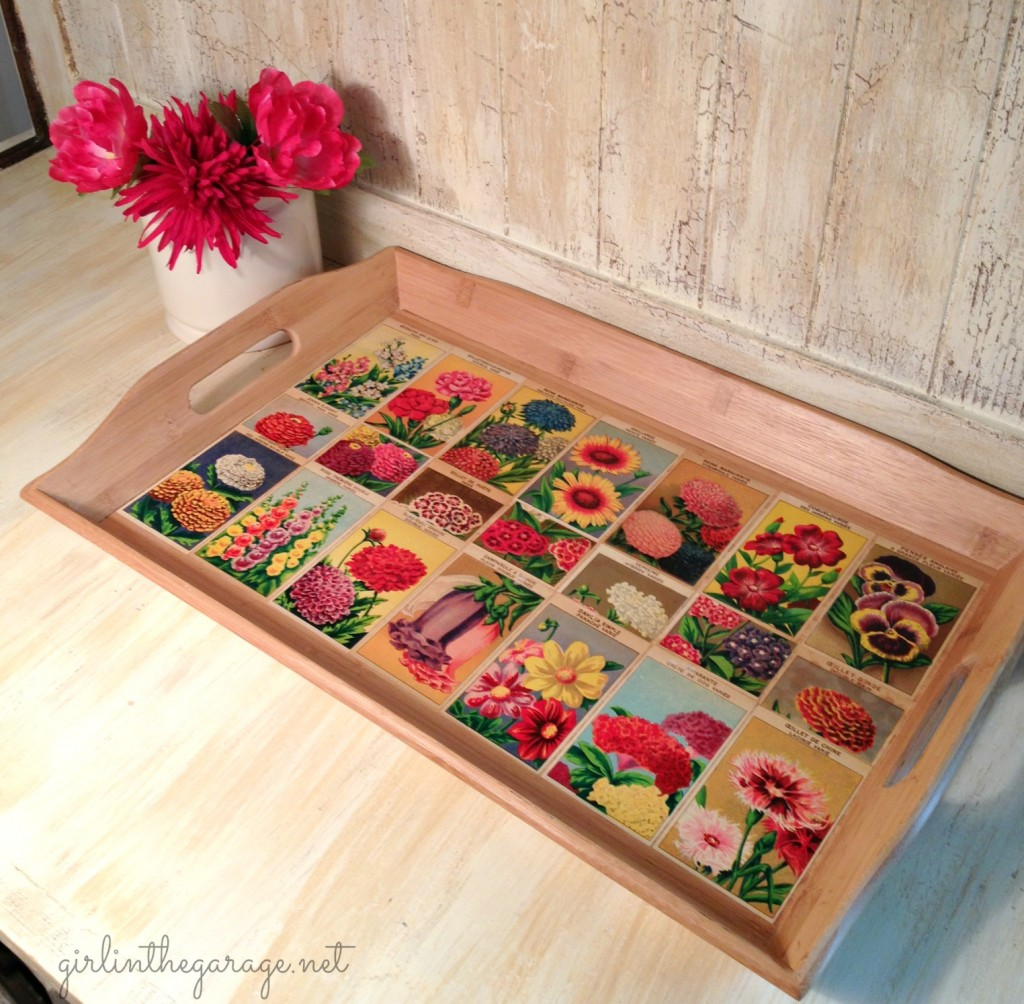 Finished tray with decoupaged French flower seed labels. Girl in the Garage
