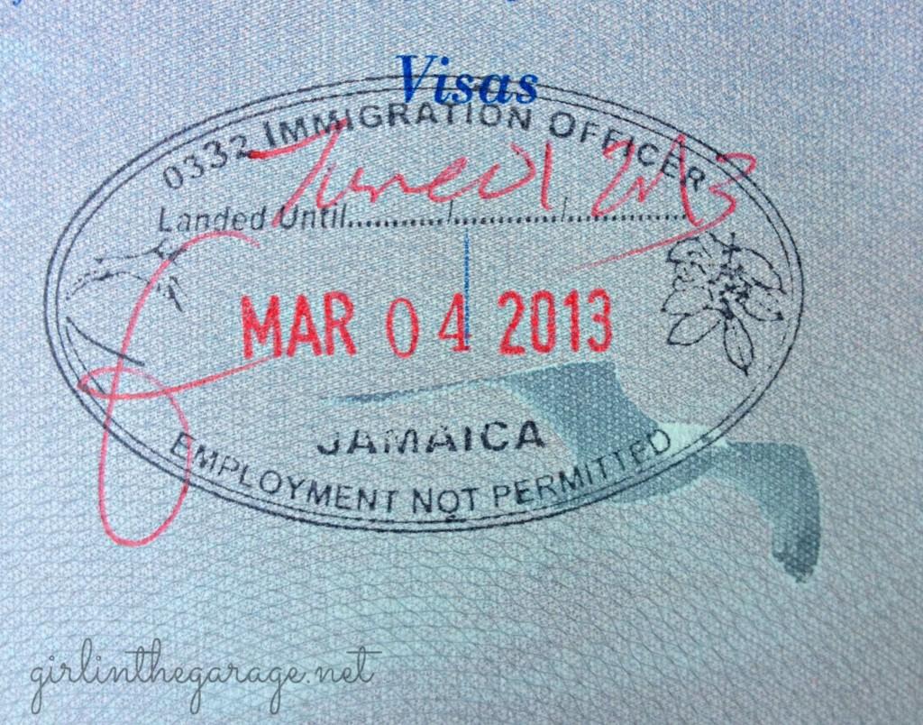 Jamaica passport stamp - Girl in the Garage