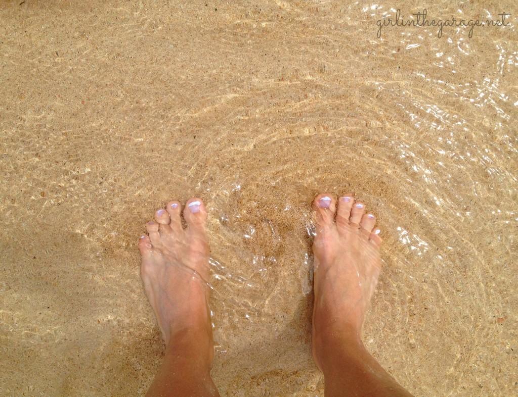 My feet in the ocean in Jamaica - Girl in the Garage