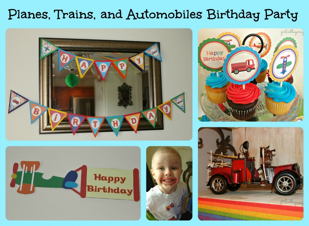 Planes, Trains, and Automobiles Birthday Party by Girl in the Garage & Kiyomi Designs.  Lots of cute ideas, and a promo code for the party decor on Etsy!