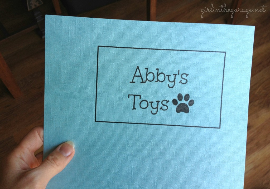 Printed sign for Abby's toy basket.  Girl in the Garage