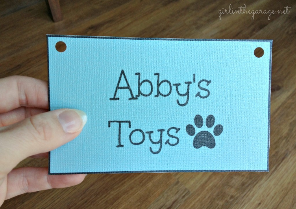Sign for Abby's toy basket.  Girl in the Garage