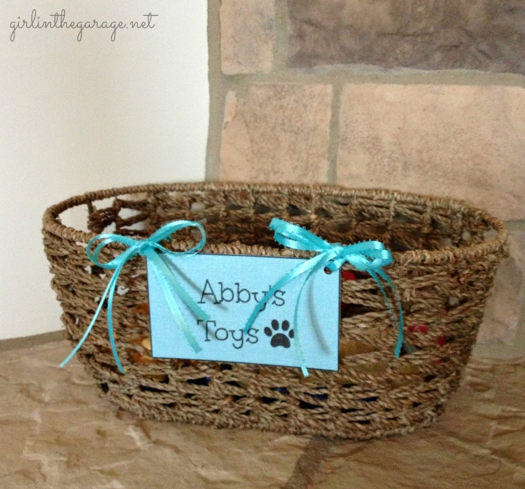 Personalized basket for dog toys.  By Girl in the Garage