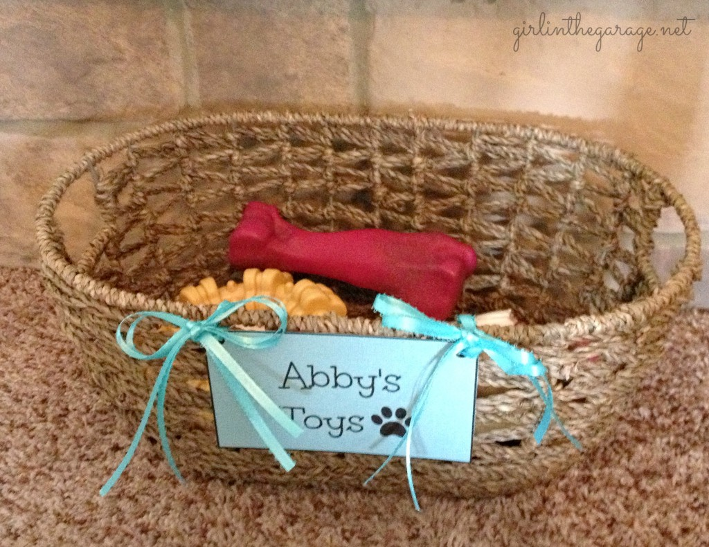 Dog toy basket for Abby's toys.  Girl in the Garage