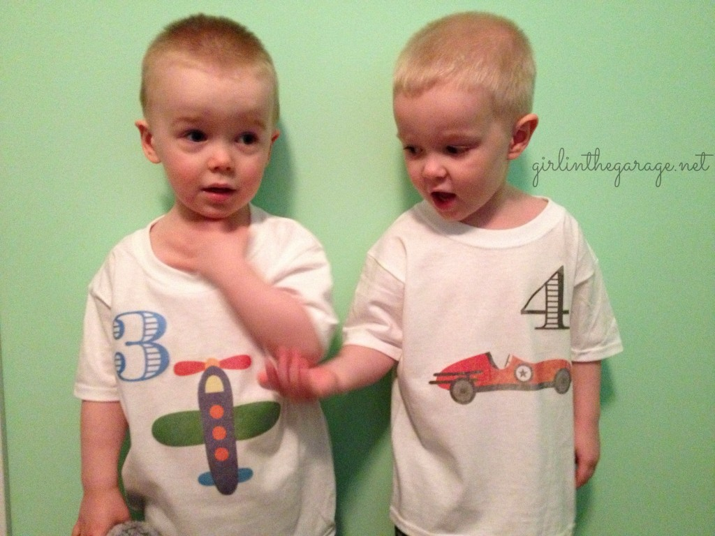 Boys in DIY birthday shirts to match their party decor.  By Girl in the Garage