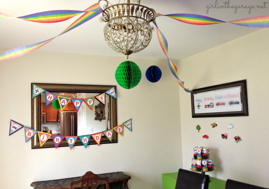 Planes, Trains, and Automobiles Birthday Party by Girl in the Garage & Kiyomi Designs.  (Kitchen decor)