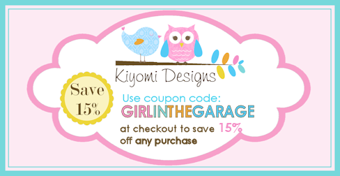 Kiyomi Designs 15% coupon code for Girl in the Garage readers.