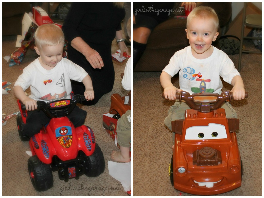 Planes, Trains, and Automobiles Birthday Party by Girl in the Garage & Kiyomi Designs.  (Boys riding their new toys.)