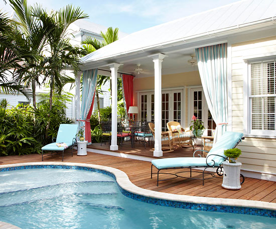 12 inspirational patios porches girl in the garage for Better homes and gardens swimming pools