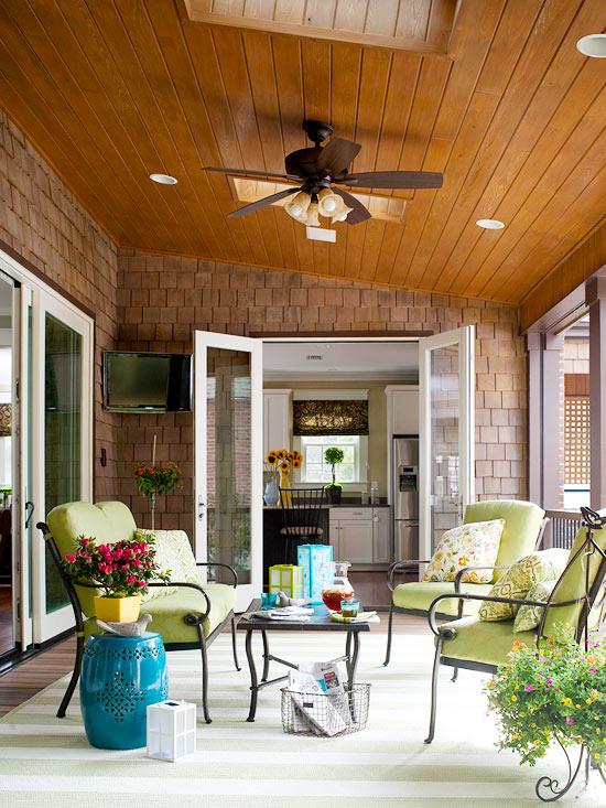 Porch with flatscreen TV {via Better Homes & Gardens}