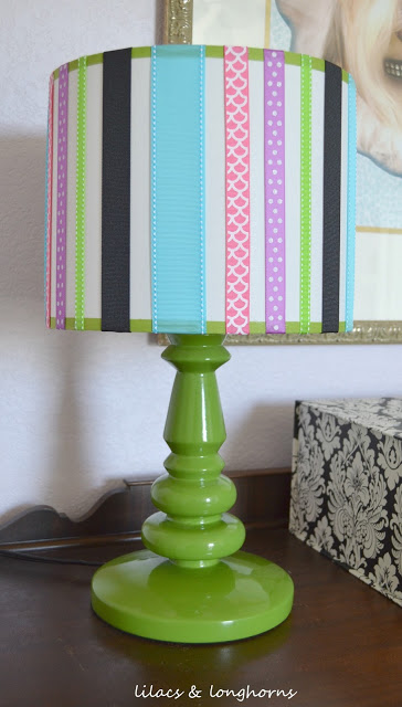 Lampshade updated with ribbon by Lilacs & Longhorns