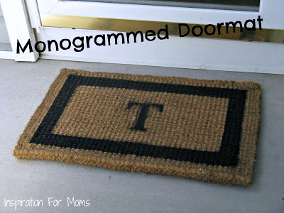 Pottery Barn inspired monogrammed doormat by Inspiration for Moms