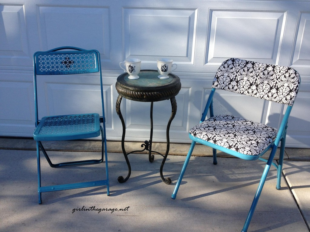 Painted and reupholstered folding chairs by Girl in the Garage