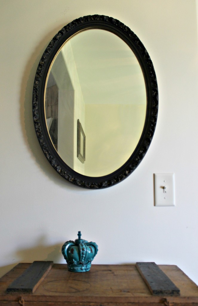 Add some paint to update an outdated mirror.  By Girl in the Garage
