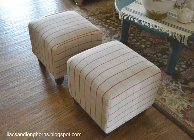 Reupholstered cube ottomans by Lilacs & Longhorns