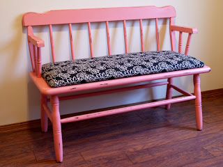 Bright coral bench makeover by Restoration Redoux