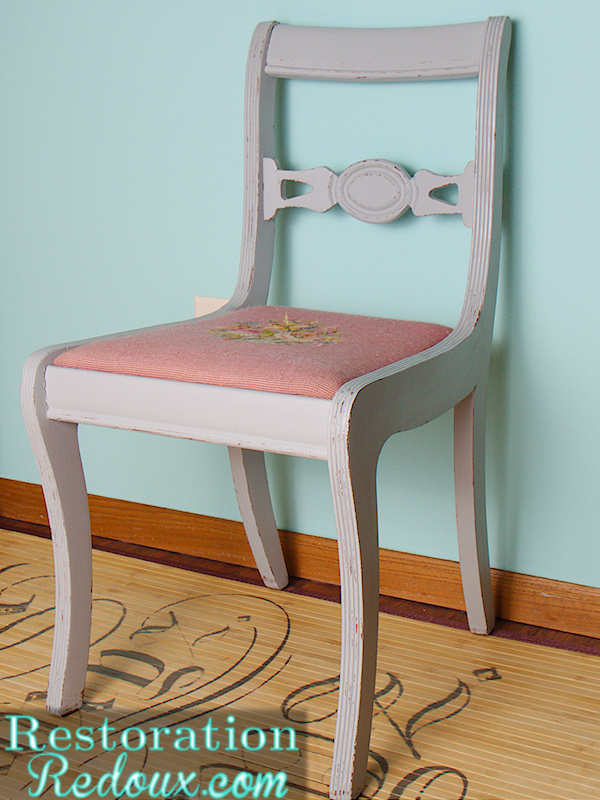 Vintage gray distressed chair by Restoration Redoux