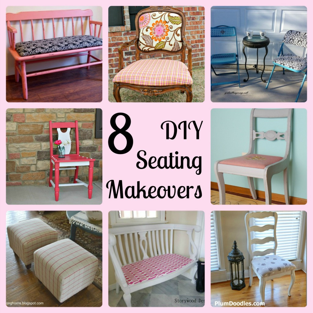 8 DIY Seating Makeovers - With links to tutorials on all of these projects!   This is an excellent resource if you're planning to makeover a chair, bench, ottoman, etc.