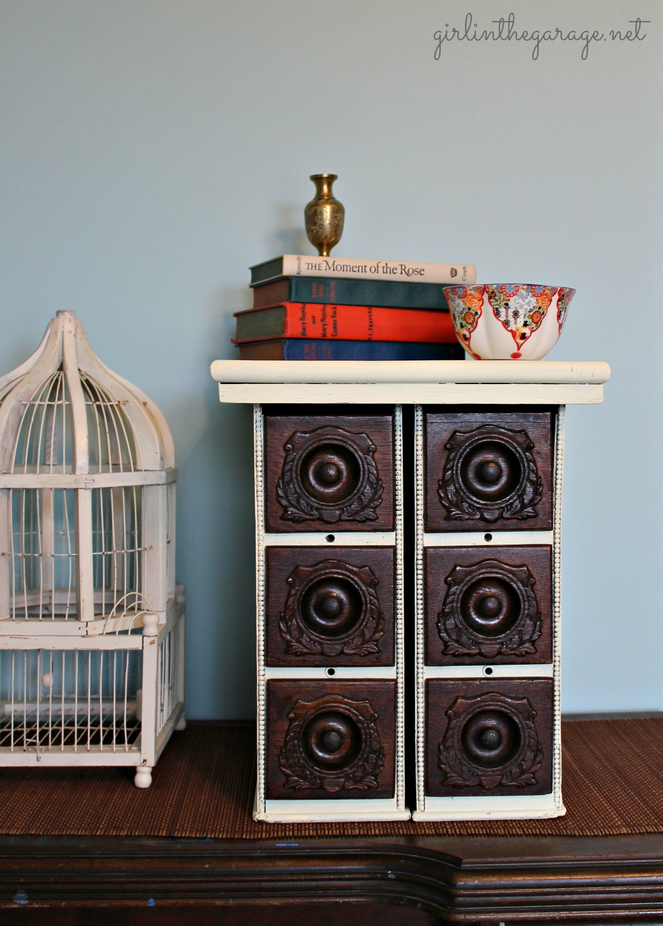 Upcycled antique sewing drawers - Girl in the Garage