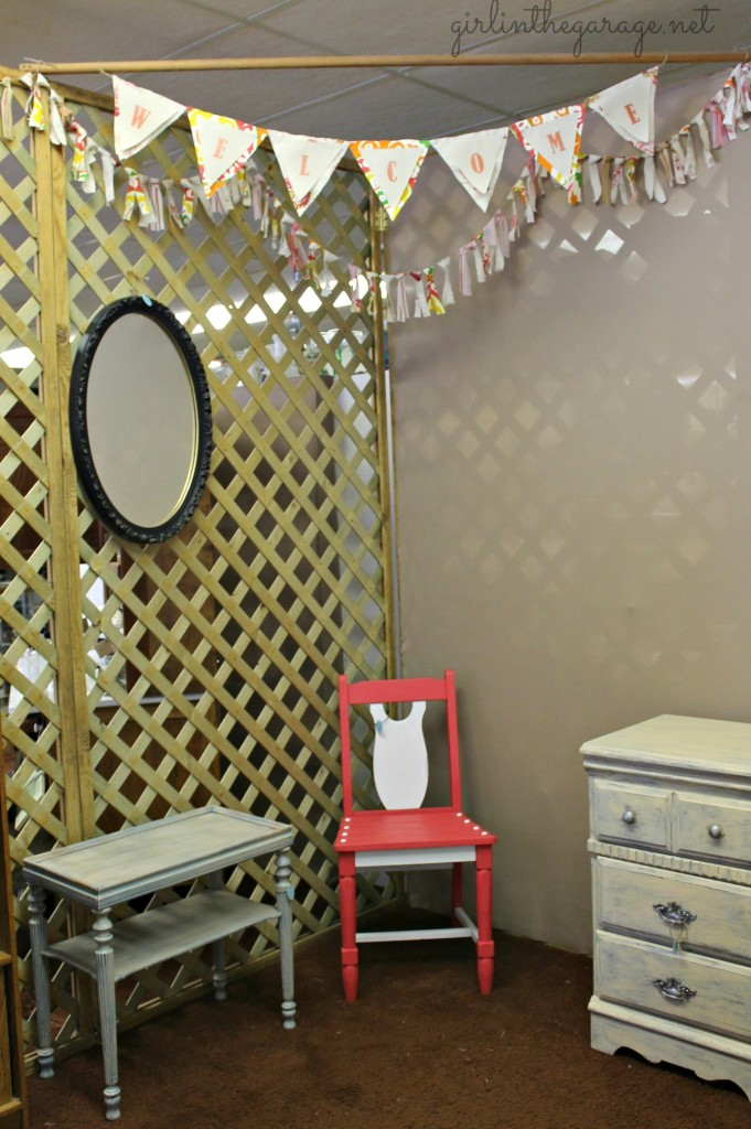 Newly rented and decorated booth space by Girl in the Garage