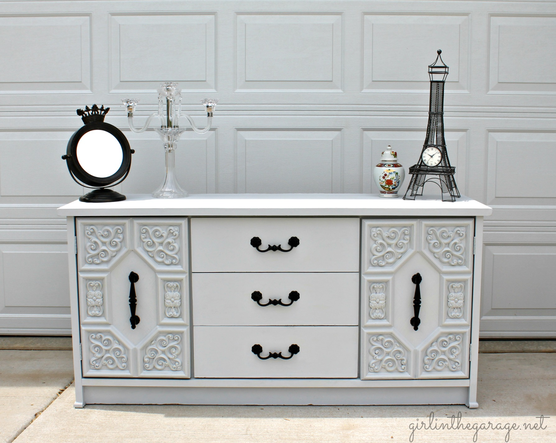 Broken curbside dresser makeover - Girl in the Garage