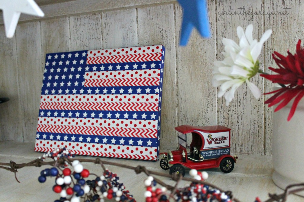 Washi tape flag and patriotic display for Independence Day