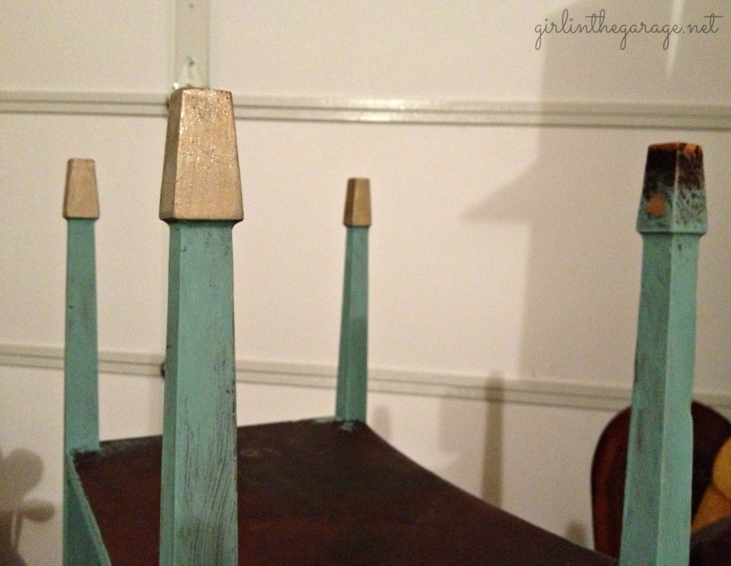 Annie Sloan chalk painted table with gold dipped feet.  Love this color!