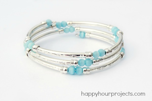 Memory Wire Tube Bead Bracelet by Happy Hour Projects