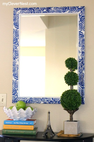 Mod Podged mirror with napkins by Clever Nest